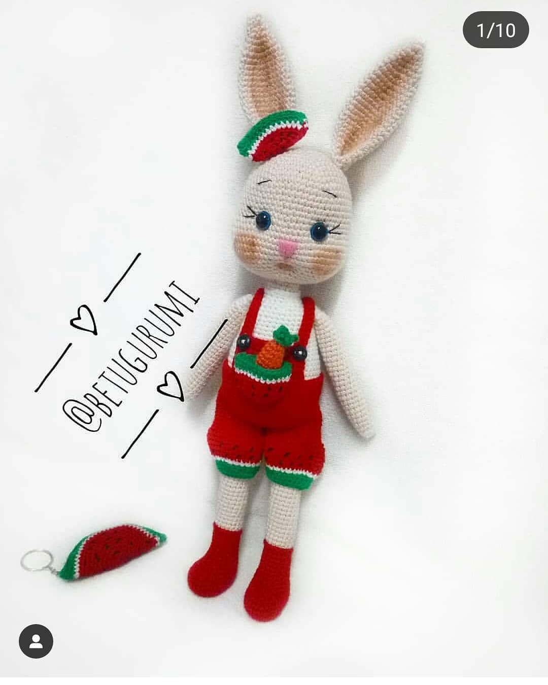 Amigurumi Watermelon Overalls Bunny Free Crochet Pattern