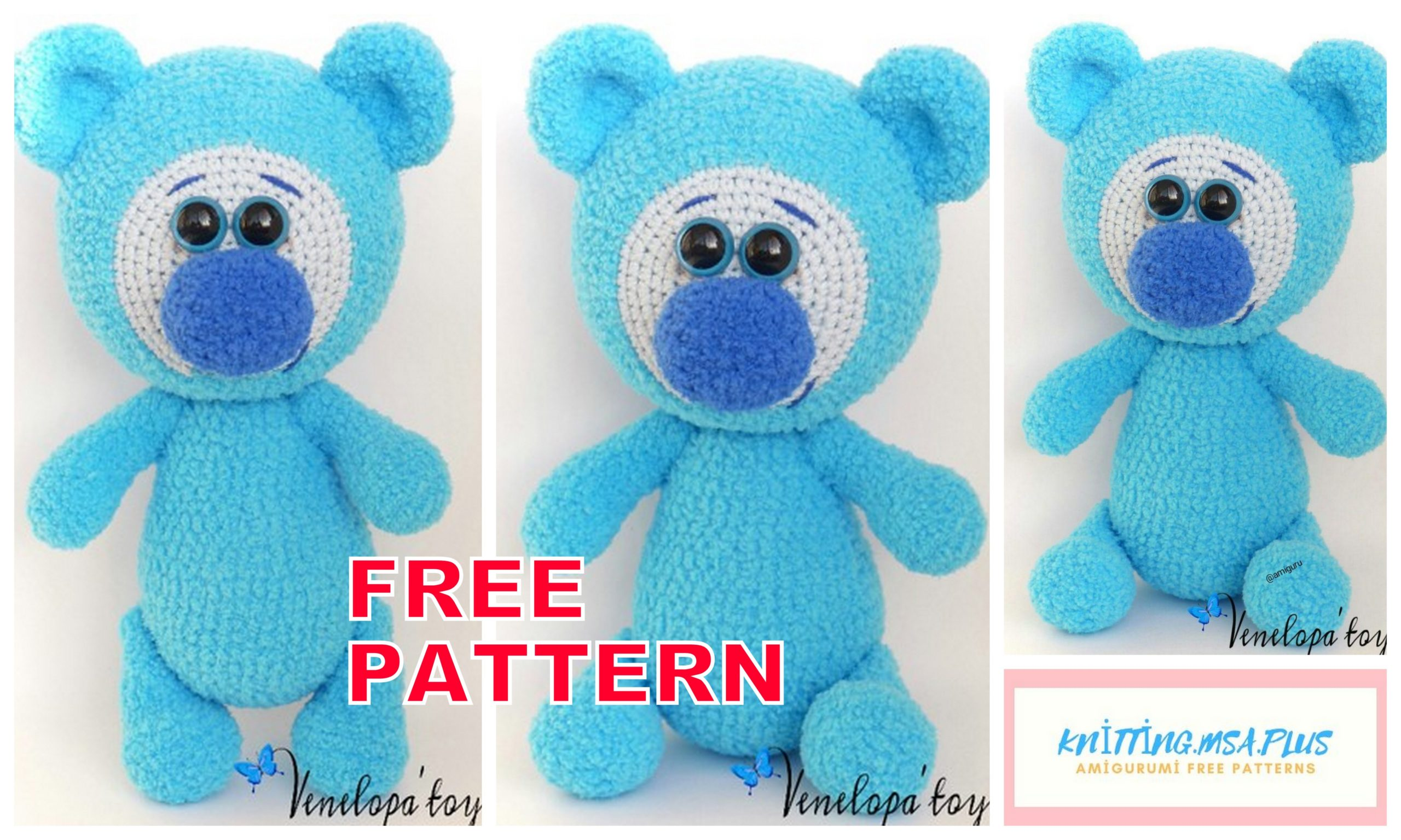 Amigurumi Blue Teddy Bear Free Crochet Pattern