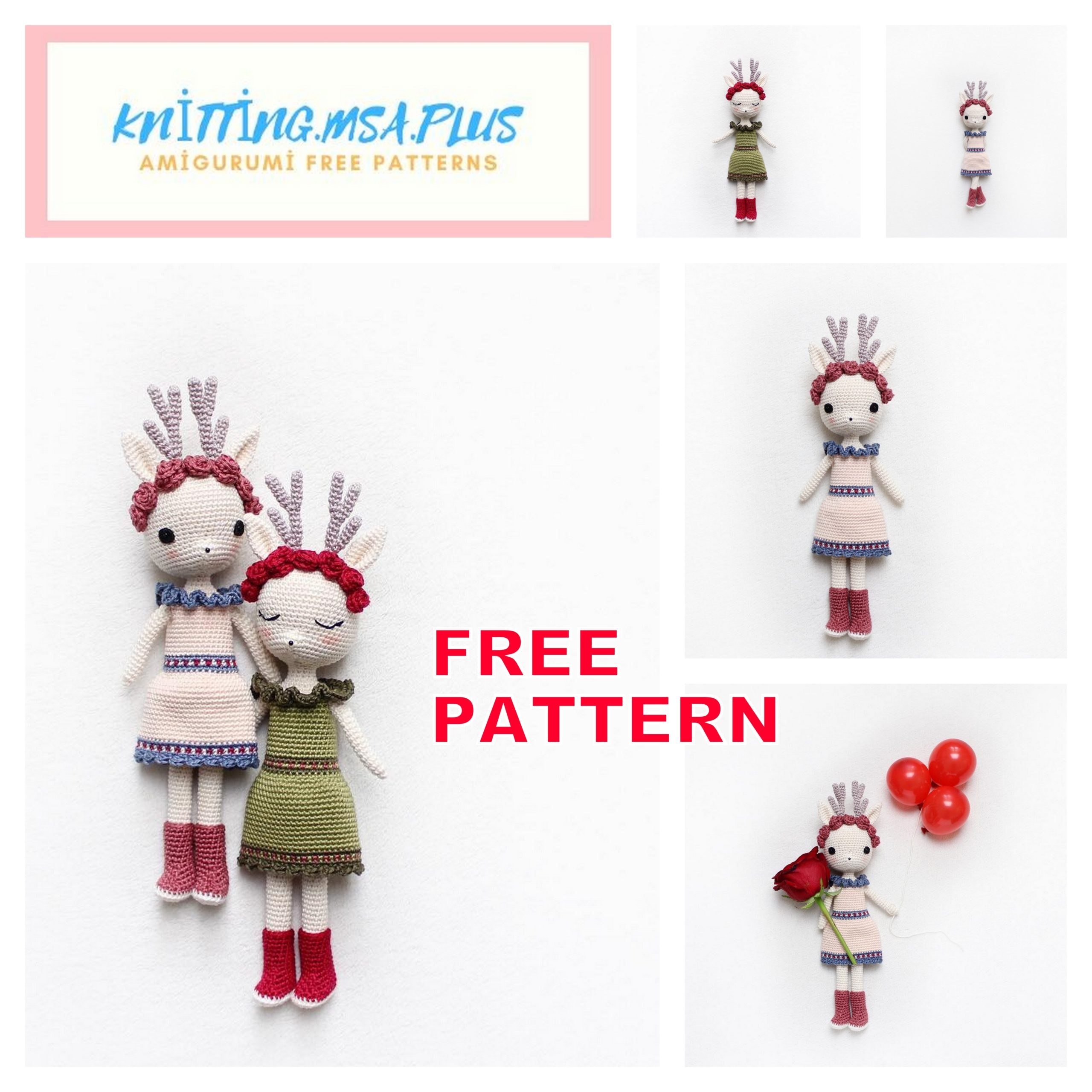 Amigurumi Cute Deer Girl Free Crochet Pattern