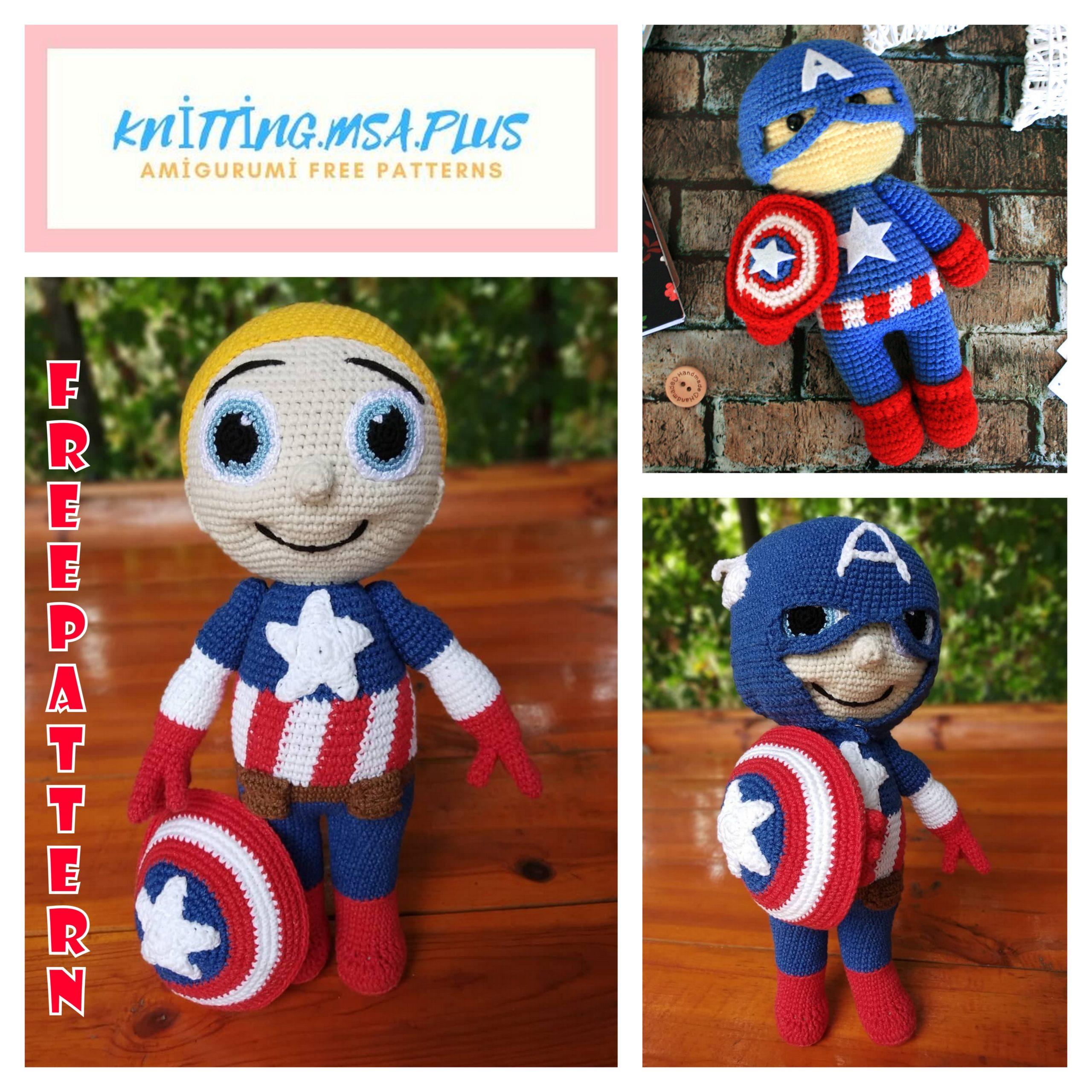 Amigurumi Captain America Free Crochet Pattern