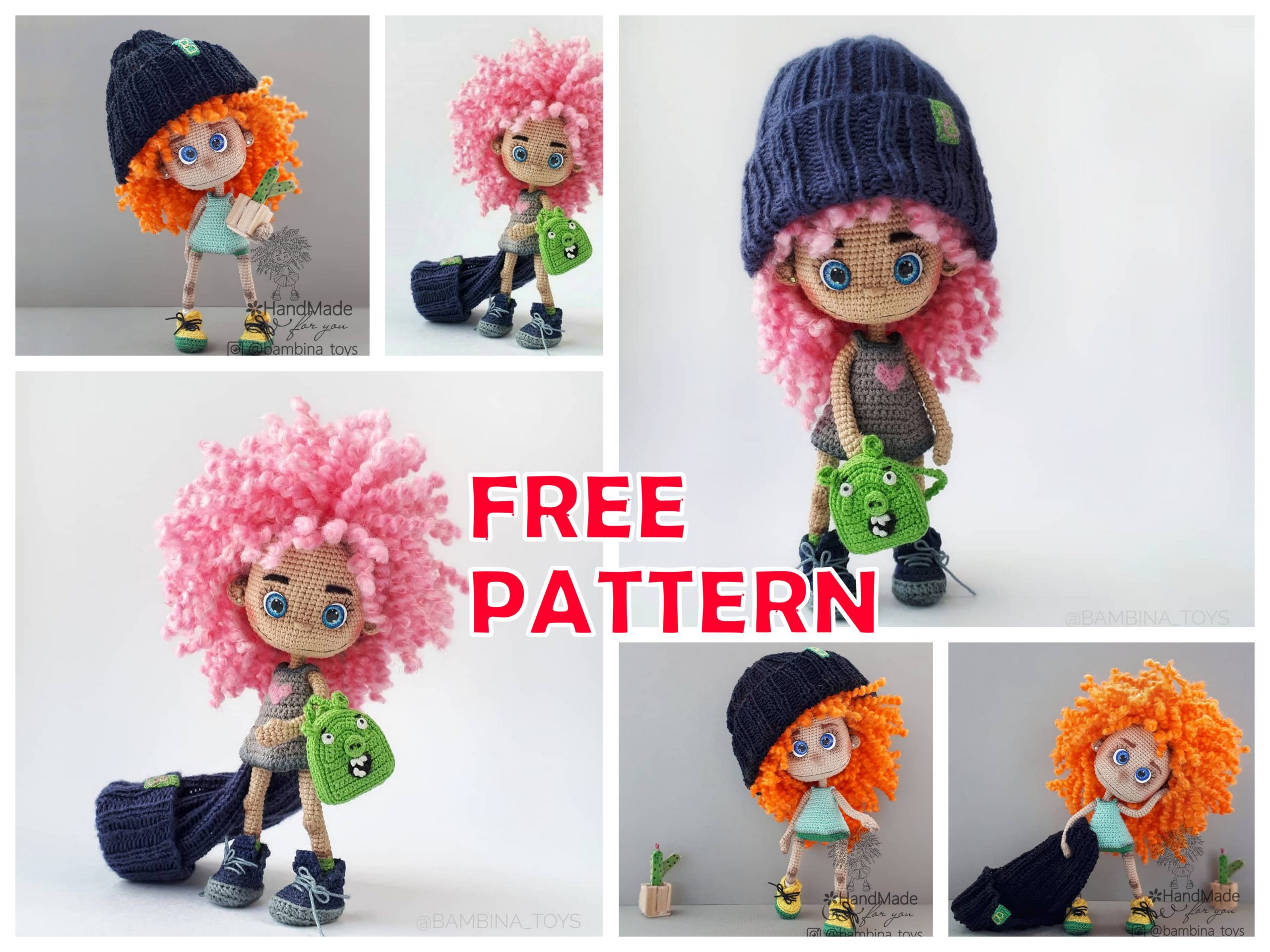 Amigurumi Curly Hair Doll Free Crochet Pattern