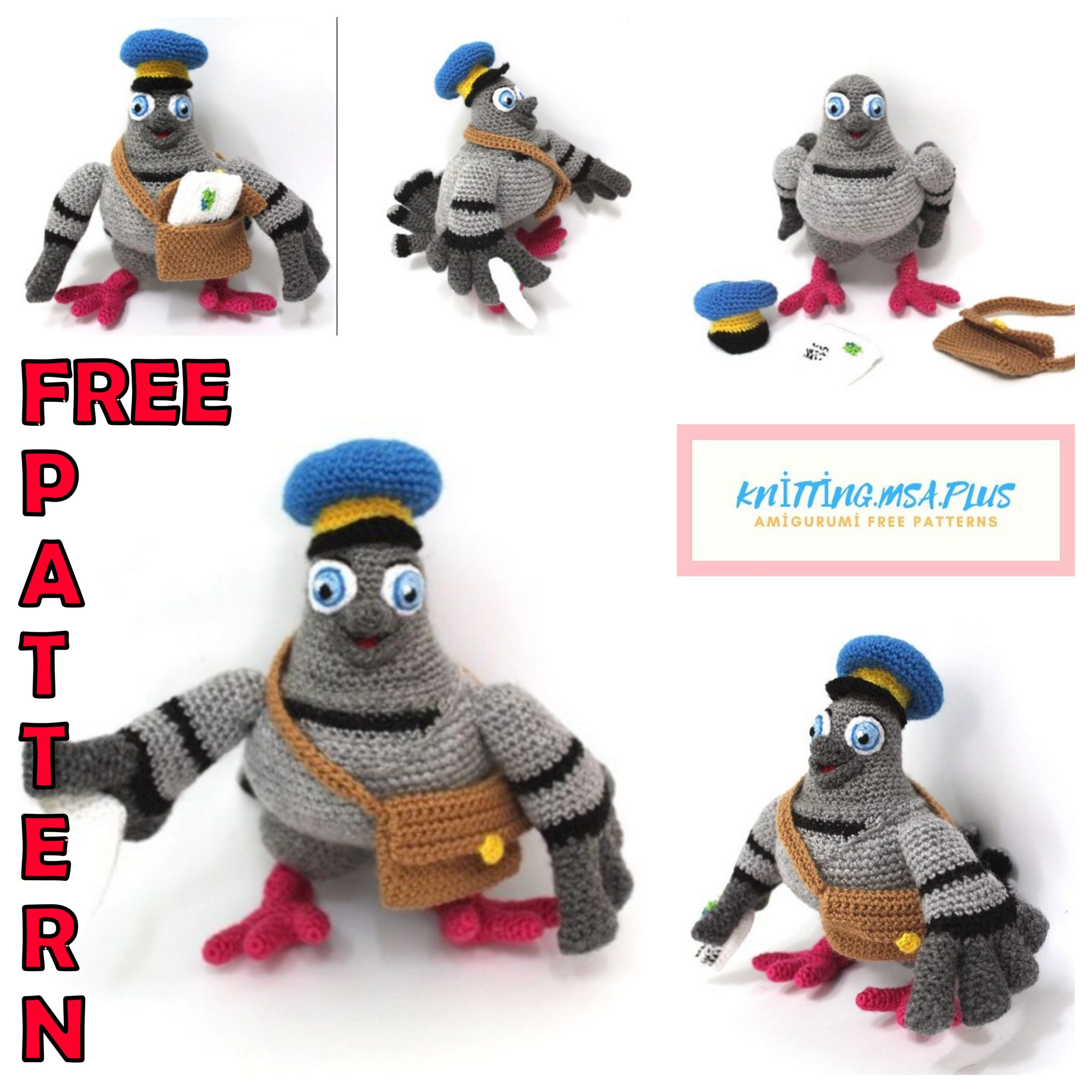 Amigurumi Post Pigeon Free Crochet Pattern
