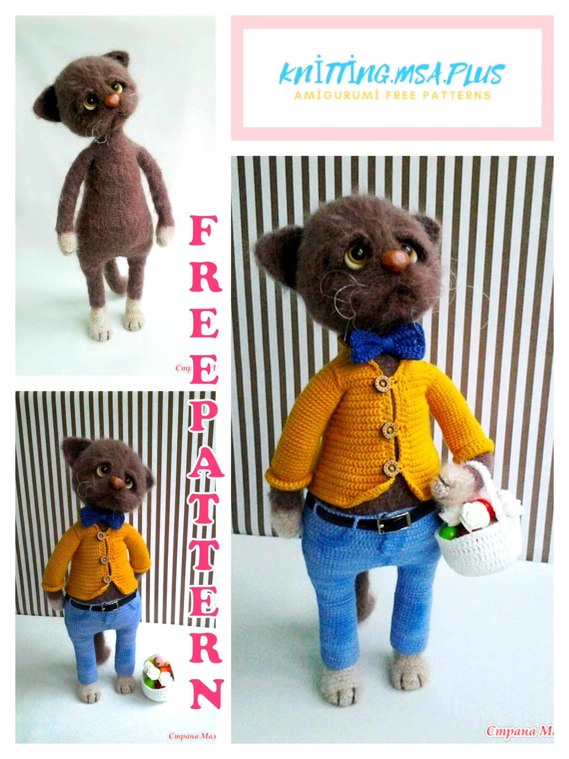 Amigurumi Handsome Cat Free Crochet Pattern