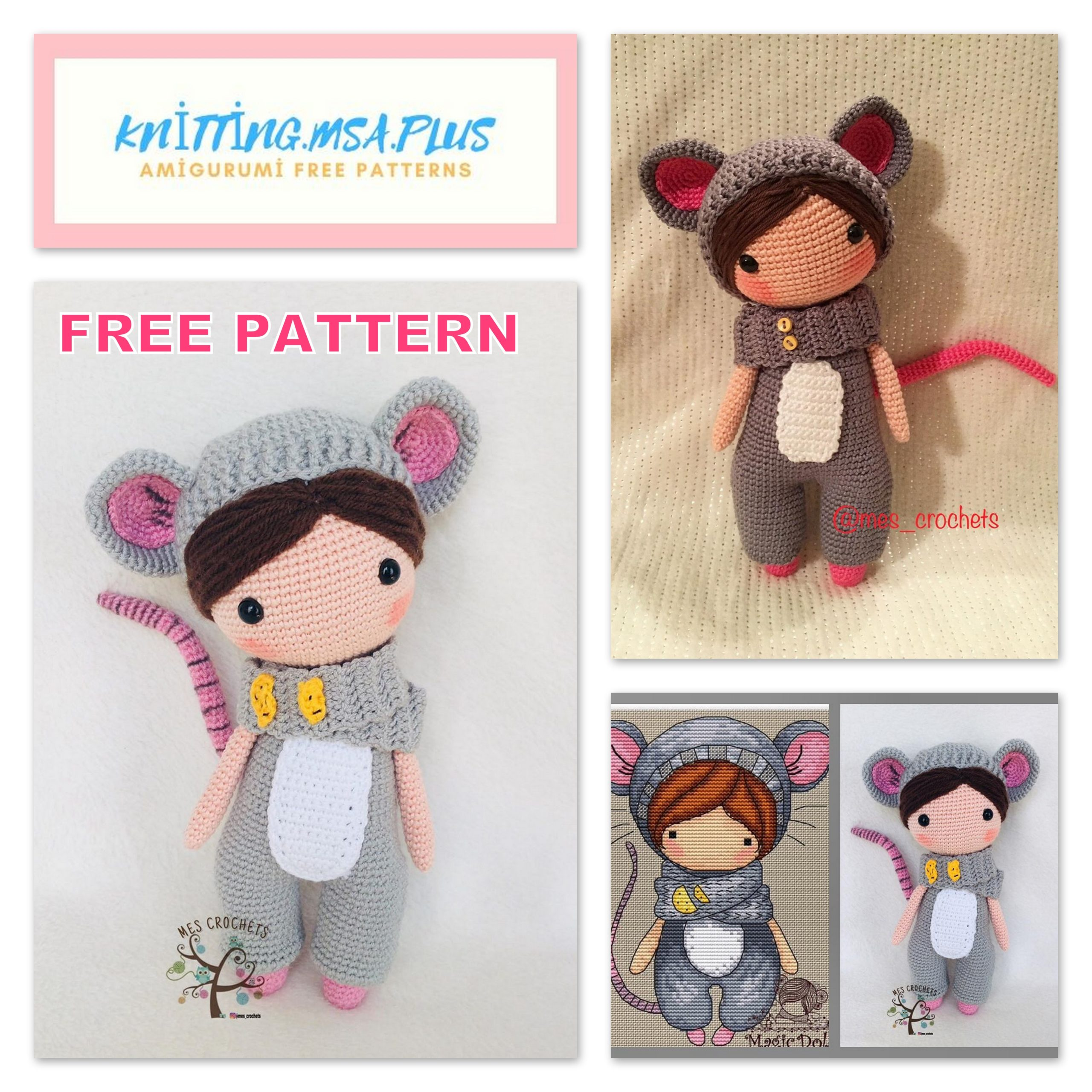 Amigurumi Doll Lily in Mouse Costume Free Crochet Pattern