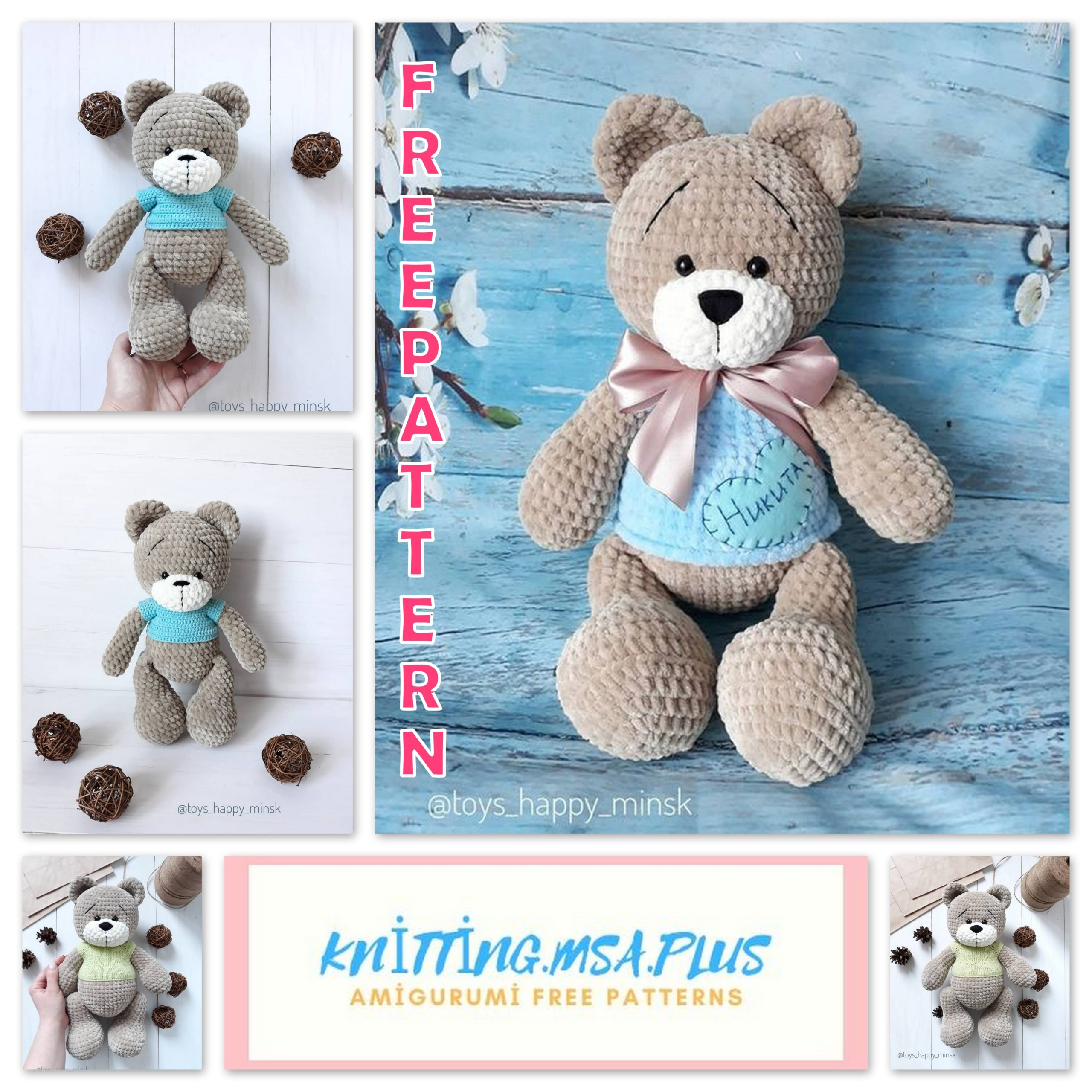 Amigurumi Teddy Bear Free Crochet Pattern With Velvet Rope