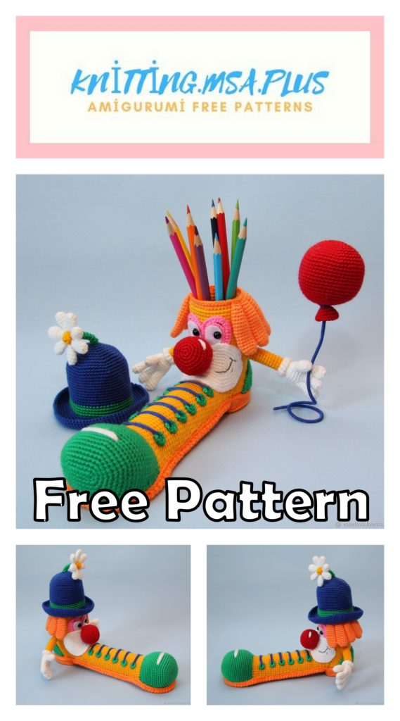 Amigurumi Clown Pencil Holder Free Crochet Pattern
