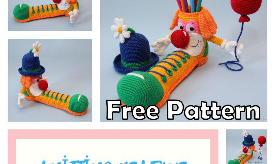 Amigurumi Clown Pencil Holder Free Crochet Pattern